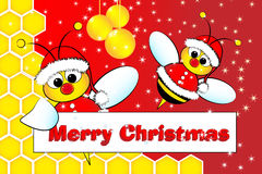 Christmas card with bees Santa Claus and beehive. Christmas card for kids with Santa Claus Bees in a beehive, golden balls and frame message Royalty Free Stock Image