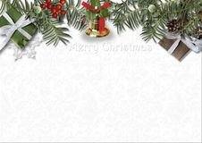 Christmas card with bell, holly and gift on white background Stock Photos