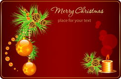 Christmas card with bells and candles. vector composition with fir branches , candles and bells Stock Photo