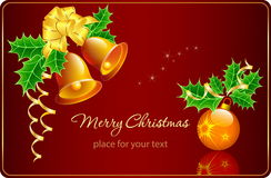 Christmas card with bells and Christmas decoration Royalty Free Stock Images