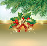 Christmas card with bells. In decoration Royalty Free Stock Photography