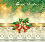 Christmas card with bells Royalty Free Stock Images
