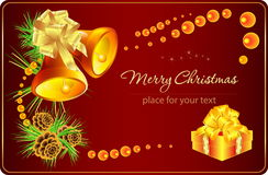 Christmas card with bells and gift. Vector composition with Christmas decorations Royalty Free Stock Photography