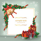 Christmas card with bells and gifts. Stock Photography