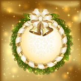 Christmas card with bells on golden background Royalty Free Stock Image