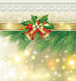 Christmas card with bells Royalty Free Stock Image