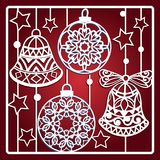Christmas card with bells for laser cutting. Vector illustration royalty free illustration