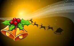 A christmas card with bells and a sleigh with reindeers Royalty Free Stock Photos