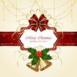 Christmas card with bells and stars Royalty Free Stock Photos