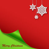 Christmas card with the bent corner and stars. Eps 10 Royalty Free Stock Photo