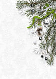 Christmas card with berries and snowman on white paper Royalty Free Stock Image