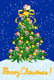 Christmas card. The Christmas card of big tree which Santa Claus and children who made a figure of him gather for Royalty Free Stock Photo