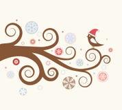 Christmas card. Bird on a branch. Stock Photography