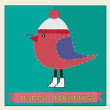Christmas card with bird in a cap Royalty Free Stock Image