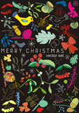 Christmas card with a bird, mistletoe and berries, vector set Stock Image
