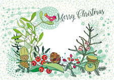 Christmas card with a bird, mistletoe and berries, vector set Stock Photos