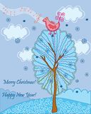 Christmas card with bird song Royalty Free Stock Photos