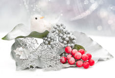 Christmas card with birdie Royalty Free Stock Photo
