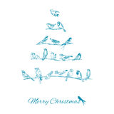 Christmas Card - Birds on Christmas Tree Stock Image