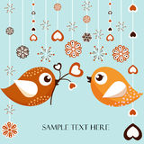 Christmas Card with Birds Stock Photography