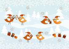 Christmas Card with Birds. With gifts Royalty Free Stock Photography