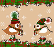 Christmas card. With birds and gifts Stock Photo