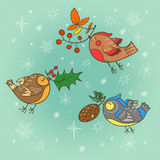 Christmas card with birds Royalty Free Stock Image