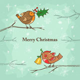 Christmas card with birds Stock Photo