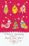 Christmas card with birds. Royalty Free Stock Photo