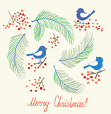 Christmas card with birds - retro design Royalty Free Stock Images