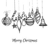 Christmas card. Black and white Christmas hand drawn ornaments Stock Images