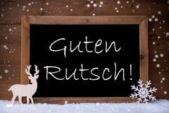Christmas Card, Blackboard, Guten Rutsch Mean New Year, Snow Royalty Free Stock Photos