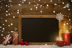 Christmas Card, Blackboard, Snow, Snowflakes, Copy Space Royalty Free Stock Images