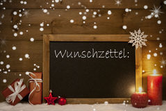 Christmas Card, Blackboard, Snowflakes, Wunschzettel, Wish List Royalty Free Stock Photos