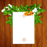 Christmas card with blank paper and holly berry Stock Photos
