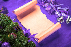 Christmas card blank parchment on violet Stock Photography