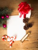 Christmas card: blank, vintage rural gift Royalty Free Stock Photo