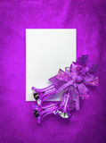 Christmas card blank white paper on magenta Stock Photography