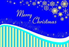 Christmas card on a blue background with gold stripes and snowfl. Akes Stock Image