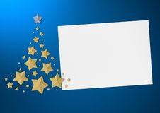 Christmas card on blue background with golden Christmas tree 3d render. Christmas tree made of gold stars on dark blue background with space for your text 3d stock illustration