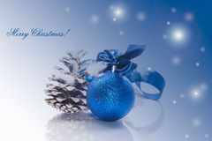 Christmas card with blue ball Royalty Free Stock Images
