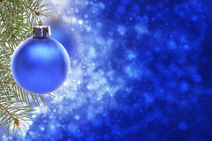 Christmas card with blue ball. Royalty Free Stock Photography
