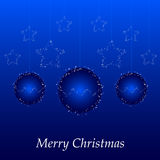 Christmas card with blue ball and stars Royalty Free Stock Photography