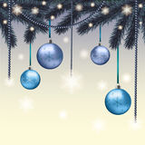Christmas card with blue balls. And snowflakes Stock Images
