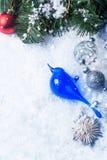 Christmas card with blue bird Stock Image