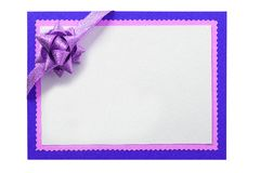 Christmas card blue border frame pink bow isolated white. Christmas card blue border frame pink bow isolated stock photo
