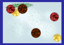 Christmas card with blue border. Christmas card with snowflakes and colored balls, with blue border royalty free illustration