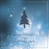 Christmas Card with Blue Bright Background Royalty Free Stock Photography