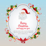 Christmas Card Blue. Bright card in christmas theme wit santa Stock Photo