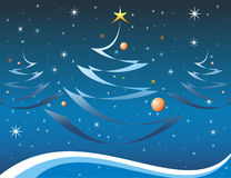 Christmas card in blue color Royalty Free Stock Image